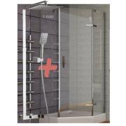 Душевая кабина STEFANI пятиугольная 90*90*205 см, поддон (15 см), распашная, стекло прозрачно+ODLOVE система (смеситель для душа)