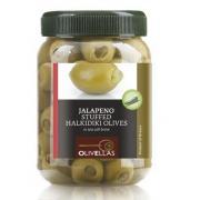 Оливки зеленые Olivellas green фарш. корнишонами 370 мл  стекло (Греция, Халкидики, ТМ Olivellas)