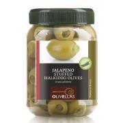 Оливки зеленые Olivellas green фарш. лимоном 370 мл  стекло (Греция, Халкидики, ТМ Olivellas)
